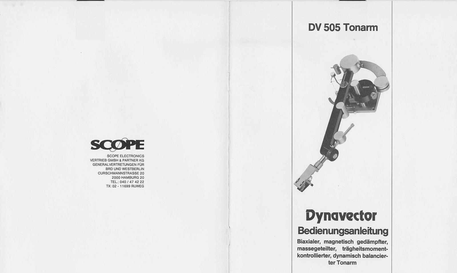 Dynavector DV 505 dynamisch balancierter Tonarm Bedienungsanleitung in deutsch