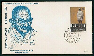 Mayfairstamps Malta 1969 Gandhi Centenary First Day Cover wwo90471