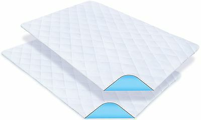 """2 Pack - PharMeDoc Waterproof Mattress Pads Bed Protector - 34"""" x 52"""" - Washable"""