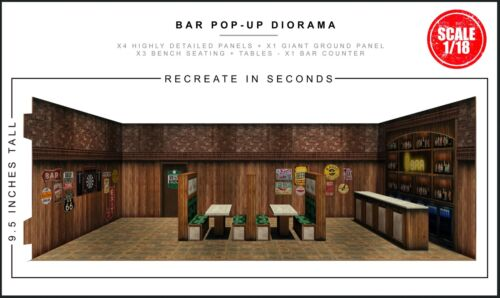 "Extreme-Sets Bar Pop-Up Diorama 1/18 Scale for 3.75"" Action Figures"