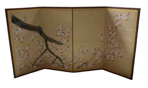 20th century Japanese hand painted wall screen cherry blossom design