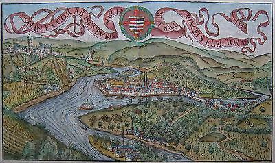 Koblenz mit Ehrenbreitstein - Originale Ansicht von Sebastian Münster - um 1580