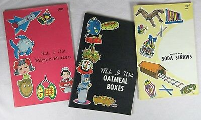 Lot of 3 Vintage MAKE IT WITH books Oatmeal Boxes, Straws, Paper Plates, Graff - Make It Plates