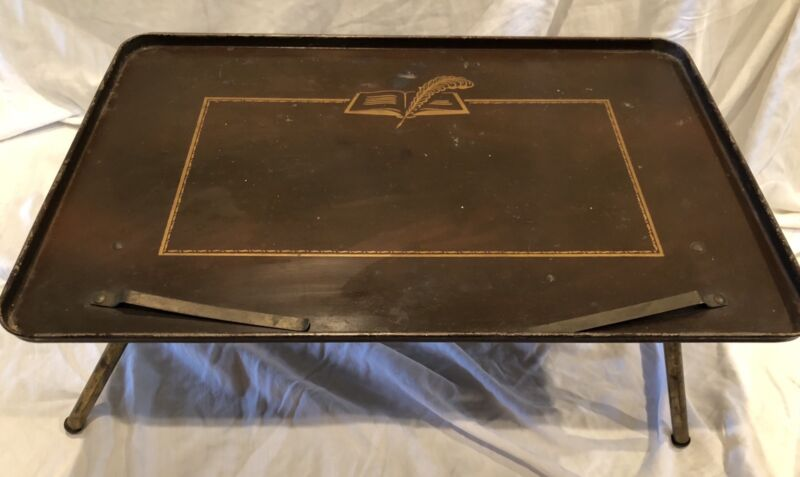 Vintage Table-Top Writing Reading Desk Music Stand Metal Folding Serving Tray