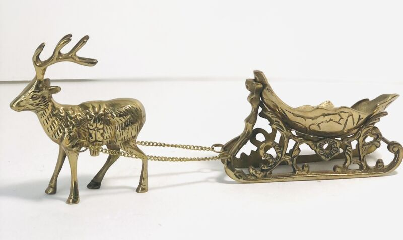 Vintage Gatco Solid Brass Sleigh And Reindeer Set Holiday Decorations