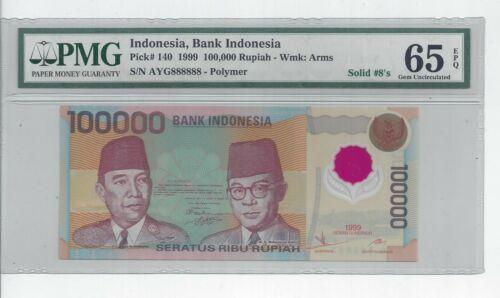 1999 INDONESIA 100000 RUPIAH POLYMER # 888888  PMG-65 GEM - 100,000 BANKNOTE UNC