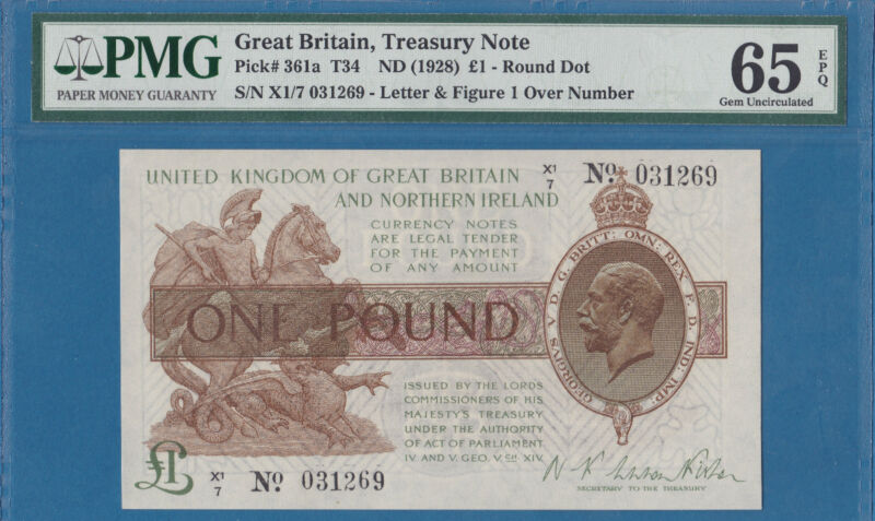 England(Great Britain) Treasury 1 Pound Banknote, 1928,Gem UNC-PMG65EPQ, P361a