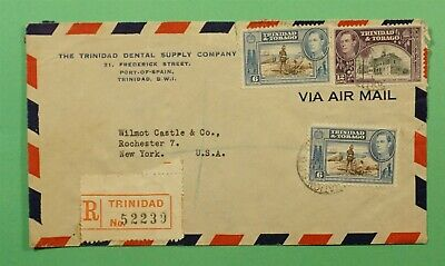 DR WHO 1947 TRINIDAD & TOBAGO REGISTERED AIRMAIL TO USA C242987