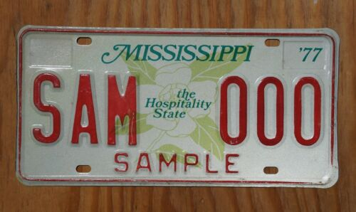 1977 Mississippi Large Magnolia Sample License Plate