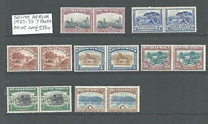 South Africa 1927-1933 7 pairs Mounted Mint