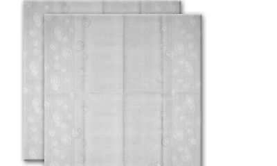 NIP TWO SASSAFRAS AIRLAID BOLLICINE TABLECLOTHS PEARL GRAY MADE IN ITALY 39