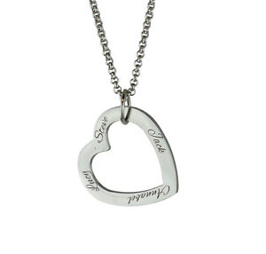 Family Names Friends Heart Necklace Pendant - Personalised - Mother's Day Gift