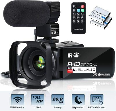 Video Camera Camcorder WiFi FHD 1080P 30FPS 26MP YouTube Vlogging Camera 16X Dig