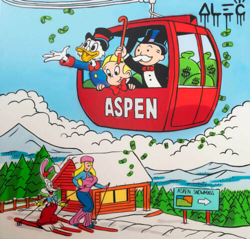 "Alec Monopoly Graffiti Handcraft Oil Painting on Canvas,TEAM IN SKI GONDOLA 24"""
