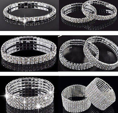 Sparkly Bling Diamante/Rhinestone/Crystal Silver Stretch Bracelet Womens Ladies