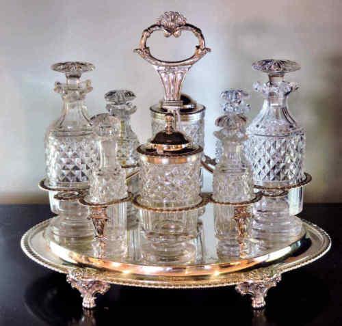 Sterling Silver Cruet Set George III Cut Glass Bottles 43 tr oz 1811 Eng Hallmar