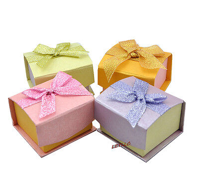 *Pretty* 4pcs Ring Box Earring Jewelry Gift w/ bow pink green purple gold (Bow Ring Jewellery Box)