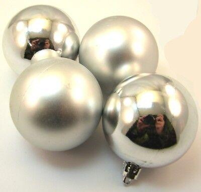 4 Bolas de Navidad 6cm Color Plata Mate Brillante Plástico para Árbol