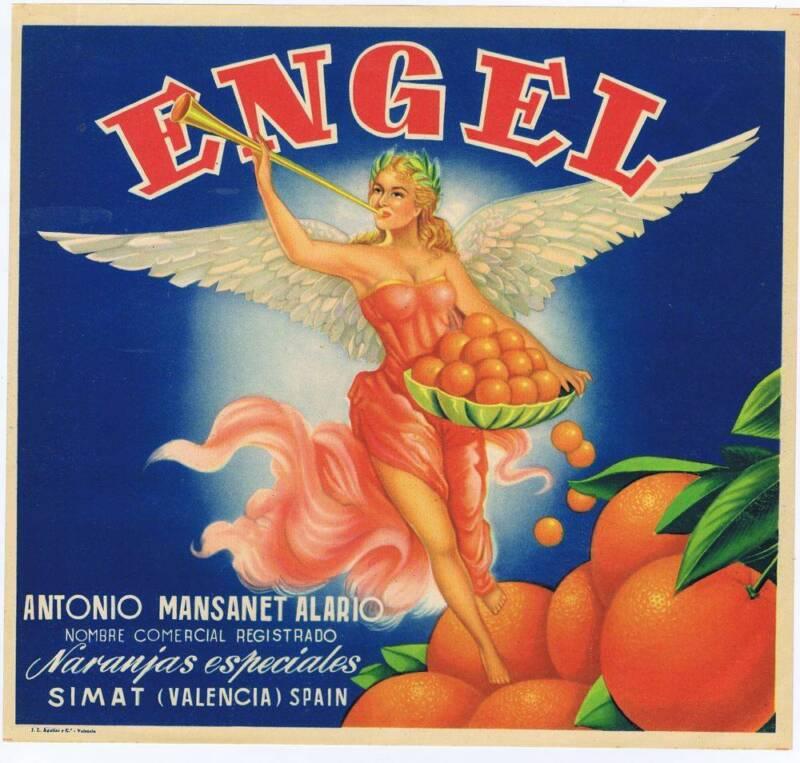 Engel  original  Spanish orange  crate label cc 1940