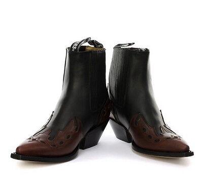 Grinders Niedrig Unisex Schwarz Burgund 100% Leder Cuban Heel Cowboystiefel
