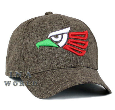 Mexican hat Mexico Aguila Eagle Snapback Curved bill Baseball cap- Brown