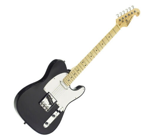 SX ELECTRIC GUITAR TELE SHAPE SOLID BODY IN BLACK FREE GIG BAG & DELIVERY