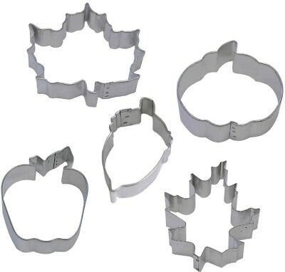 5 Piece Autumn Fall Maple Oak Leaf Acorn Apple Pumpkin Cookie Cutter Set NEW! - Halloween Acorn Cookies