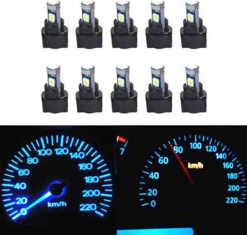 WLJH 10 Pack Ice Blue Canbus T5 Led Bulb 2721 37 74 Wedge Lamp PC74 Twist Dash - $12.40