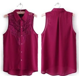 Ladies Burgundy Maroon Lace Sleeveless Collared Shirt Blouse.Size 10.