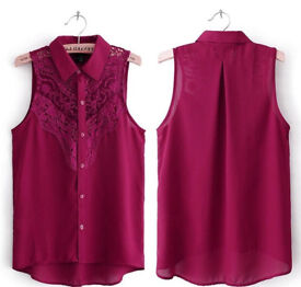 Ladies Burgundy Maroon Lace Sleeveless Collared Shirt Blouse.Size 10.