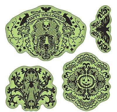 Inkadinkado Halloween Lace Pumpkin Skull, Spiker Bat Set Cling Rubber Stamp - Inkadinkado Halloween Stamps
