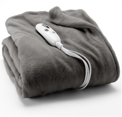 NEW Biddeford Gray MICRO PLUSH Electric Heated Throw Blanket
