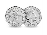 Collectable battle of hastings 50p coin 1066-2016