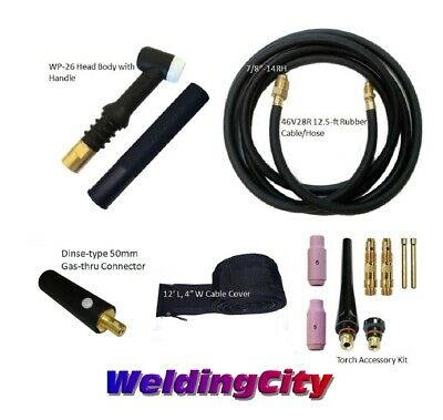 Weldingcity Gas-thru Dinse-rear Tig Welding Torch Wp-26 200a 12.5-ft Us Seller