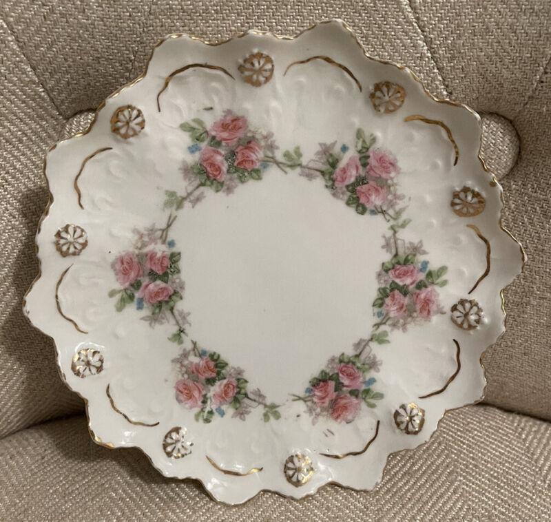"Antique Austria Delicate Pink Roses Scalloped Rim Decorative 6"" Plate"