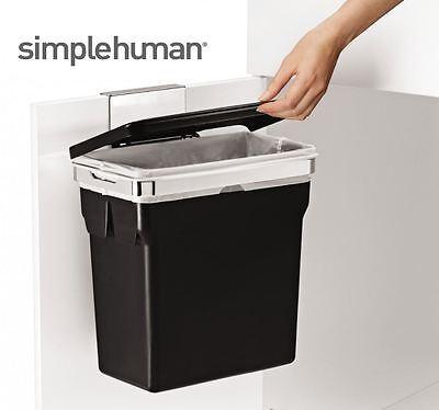 simplehuman CW1643 In Cabinet Kitchen Waste Bin Black with Heavy Duty Frame 10L