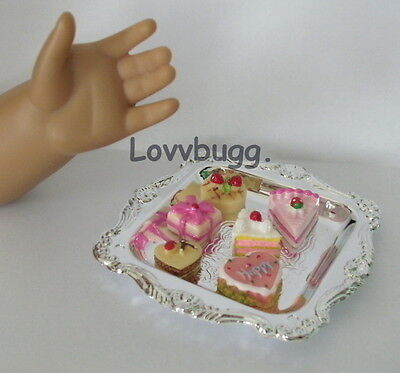 "Lovvbugg 6 Treats Cakes Cookies on Tray for 18"" American Girl Doll Food Accessory"
