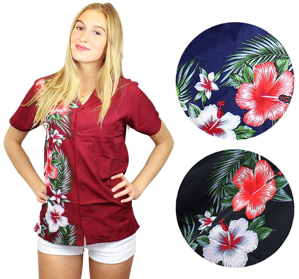 Funky Hawaiibluse Hawaiihemd Shirt Damen Wedding Kurzarm Fronttasche Unisex