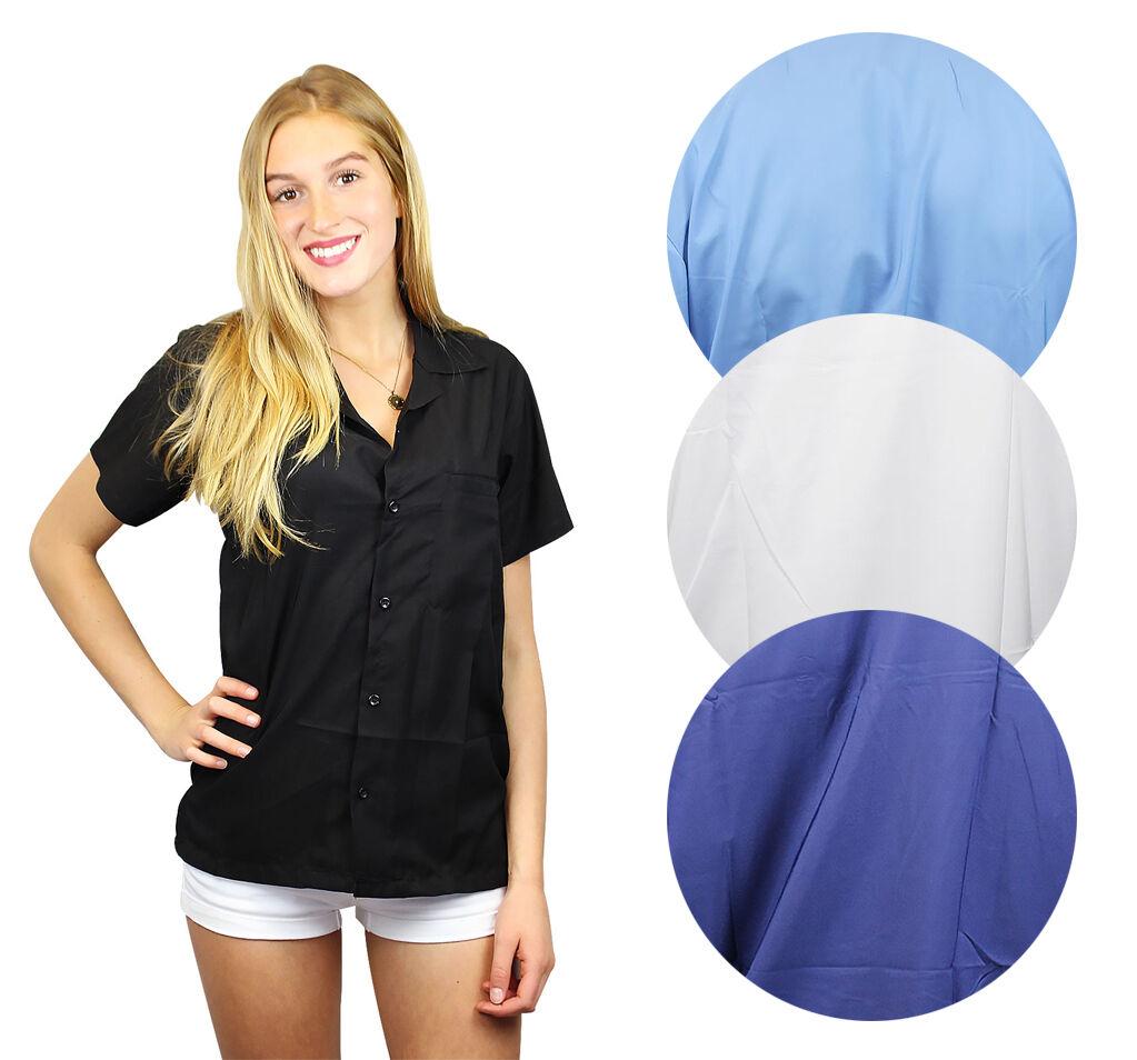 Funky Hawaiibluse Damen Kurzarm Front-Tasche Hawaiian Shirt Blanc Unisex