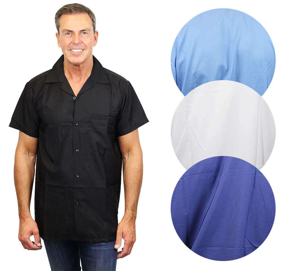 Funky Hawaiihemd Herren Kurzarm Front-Tasche Hawaiian Shirt Blanc Schlicht