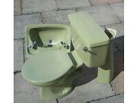 Free retro bathroom/cloakroom pedestal washbasin and wc units .