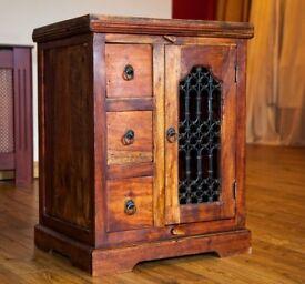 Indian Jali Dark Wood Cabinet - Price Reduced!