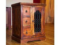 Indian Jali Dark Wood Cabinet