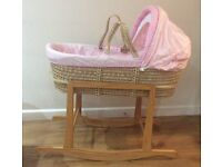 Pink Moses basket with rocking stand Babies R Us