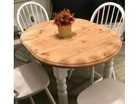 Lovely extending shabby chic dining table and 4 chairs