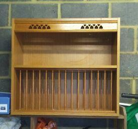 Kitchen crockery display cabinet in pine.