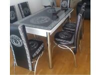 EXCELLENT DESIGN BLACK GLASS EXTENDING DINING TABLE SET AND CHAIRS