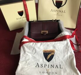 Aspinal of London Large Lottie Bag in Burgundy Saffiano, brand new, RRP £625.00