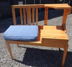 Vintage Rustic TELEPHONE TABLE 1960S MCM Pine Seat Cushion Oakville 905 510-8720 Retro Decor Vintage Seating