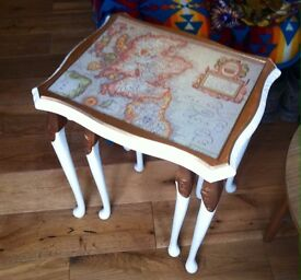 Unique nest of side tables with UK antique maps